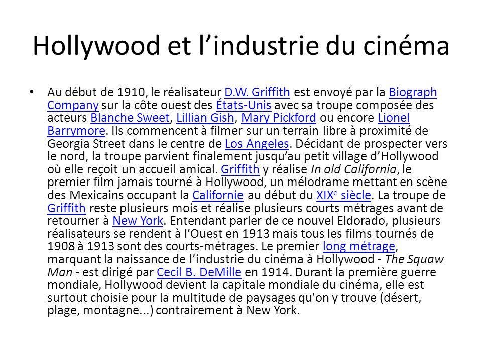 Hollywood et lindustrie du cinéma Au début de 1910, le réalisateur D.W.