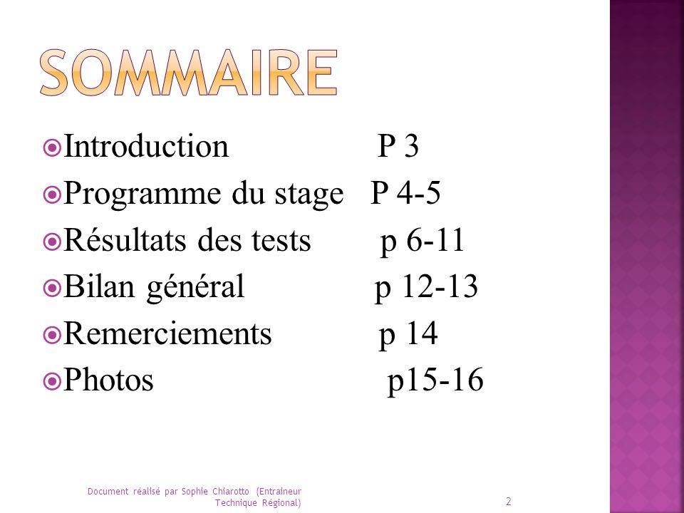Introduction P 3 Programme du stage P 4-5 Résultats des tests p 6-11 Bilan général p 12-13 Remerciements p 14 Photos p15-16 2 Document réalisé par Sop