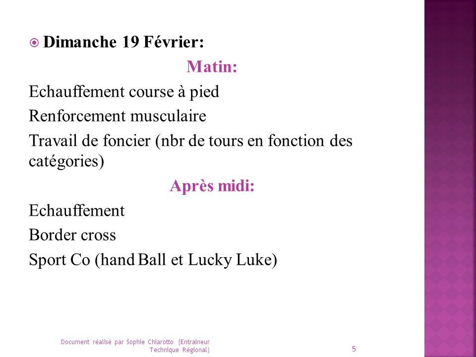 Dimanche 19 Février: Matin: Echauffement course à pied Renforcement musculaire Travail de foncier (nbr de tours en fonction des catégories) Après midi