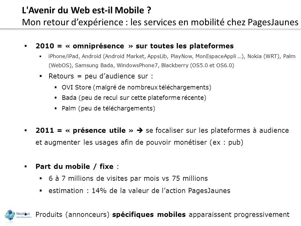L'Avenir du Web est-il Mobile ? Mon retour dexpérience : les services en mobilité chez PagesJaunes 2010 = « omniprésence » sur toutes les plateformes