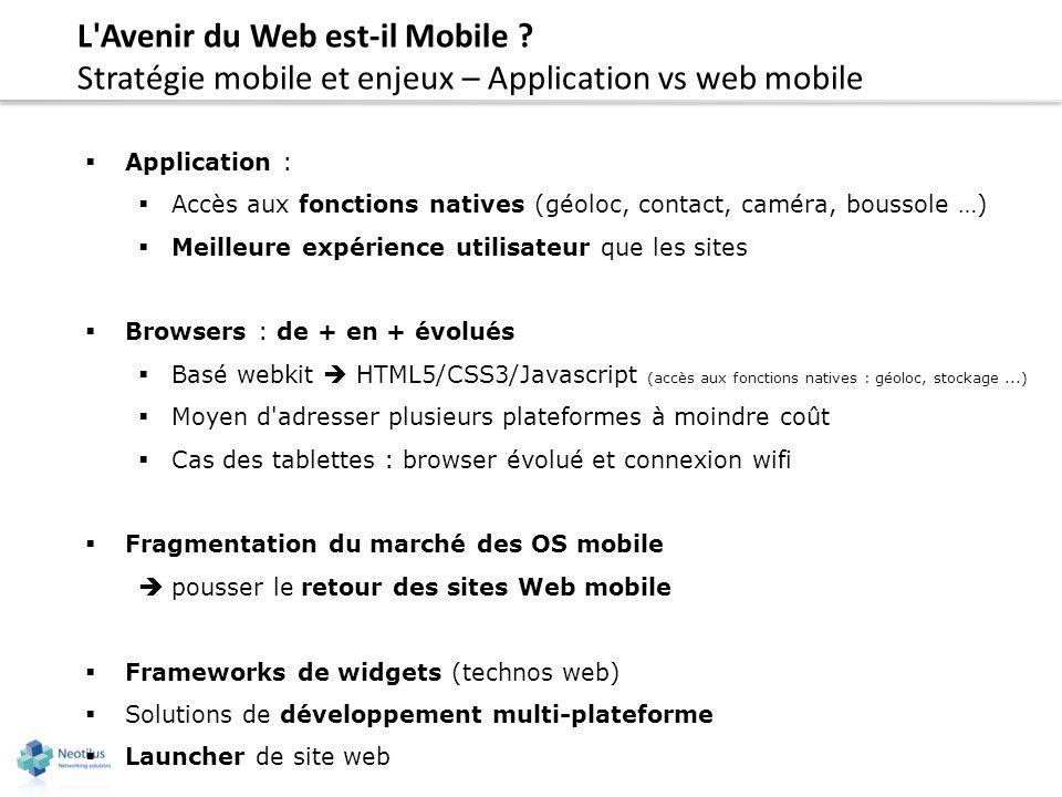 L'Avenir du Web est-il Mobile ? Stratégie mobile et enjeux – Application vs web mobile Application : Accès aux fonctions natives (géoloc, contact, cam