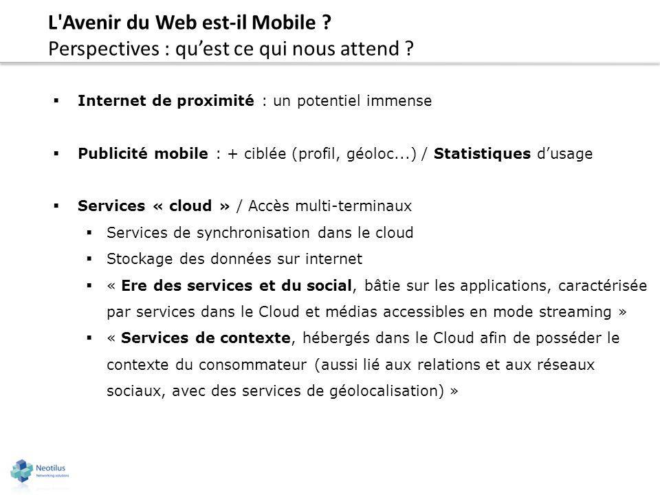L'Avenir du Web est-il Mobile ? Perspectives : quest ce qui nous attend ? Internet de proximité : un potentiel immense Publicité mobile : + ciblée (pr