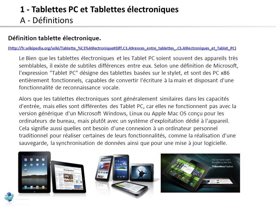 36 Définition tablette électronique. (http://fr.wikipedia.org/wiki/Tablette_%C3%A9lectronique#Diff.C3.A9rences_entre_tablettes_.C3.A9lectroniques_et_T