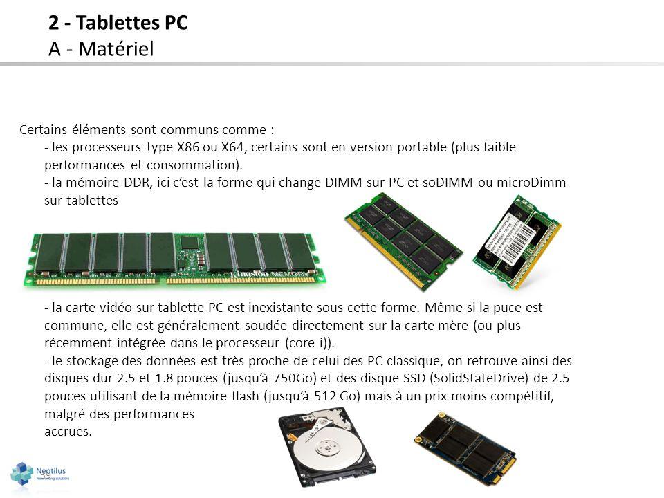Certains éléments sont communs comme : - les processeurs type X86 ou X64, certains sont en version portable (plus faible performances et consommation)