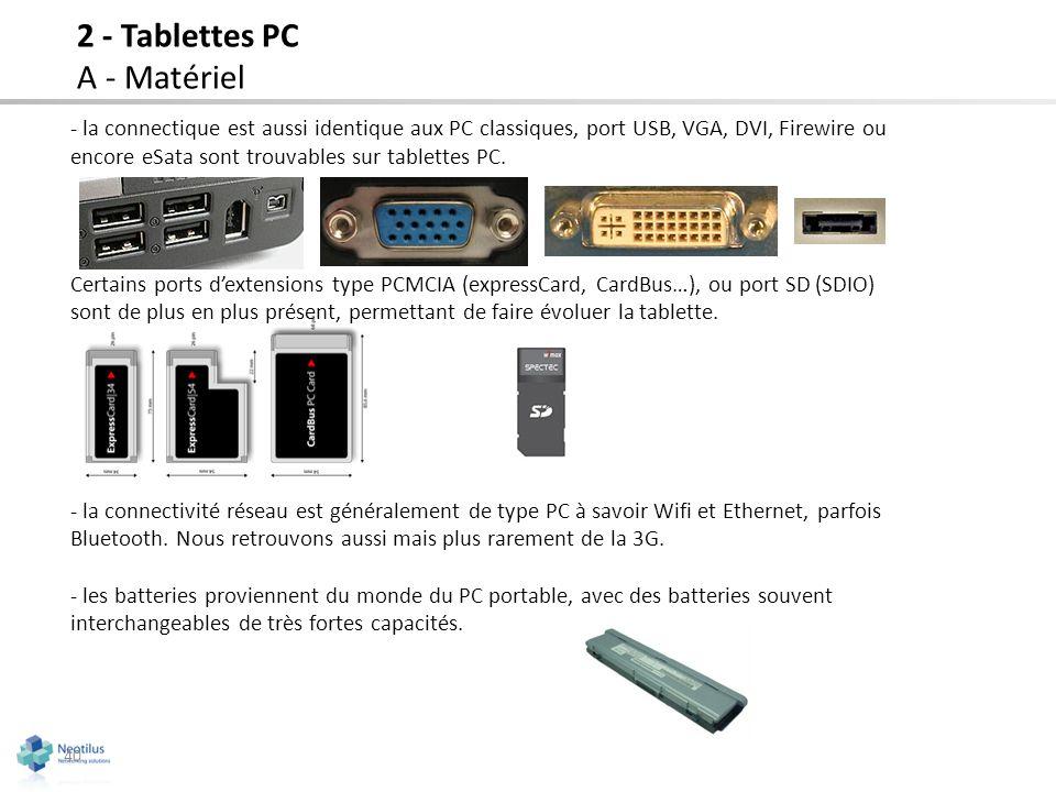 - la connectique est aussi identique aux PC classiques, port USB, VGA, DVI, Firewire ou encore eSata sont trouvables sur tablettes PC. Certains ports