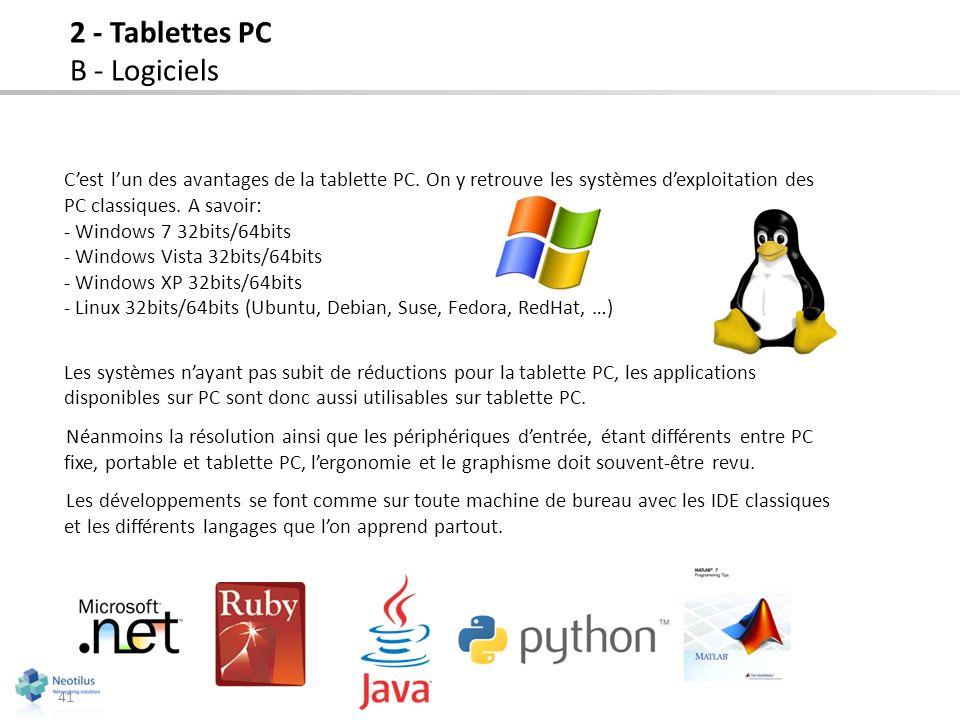 41 Cest lun des avantages de la tablette PC. On y retrouve les systèmes dexploitation des PC classiques. A savoir: - Windows 7 32bits/64bits - Windows
