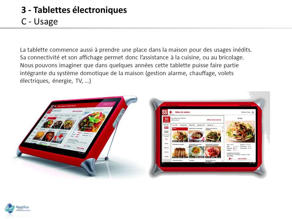 La tablette commence aussi à prendre une place dans la maison pour des usages inédits. Sa connectivité et son affichage permet donc lassistance à la c