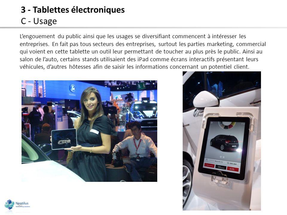 50 3 - Tablettes électroniques C - Usage Lengouement du public ainsi que les usages se diversifiant commencent à intéresser les entreprises. En fait p
