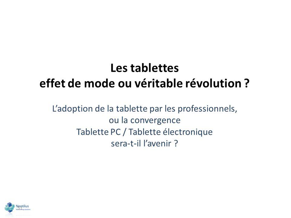 51 Les tablettes effet de mode ou véritable révolution ? Ladoption de la tablette par les professionnels, ou la convergence Tablette PC / Tablette éle