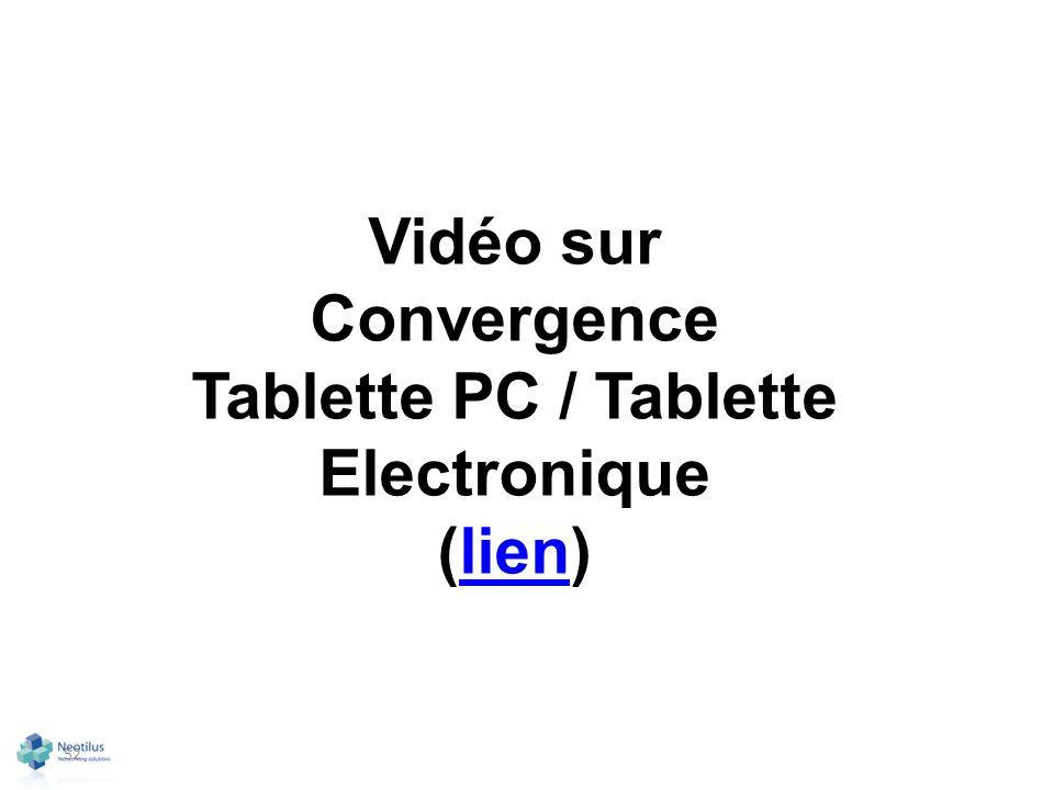 52 Vidéo sur Convergence Tablette PC / Tablette Electronique (lien)lien