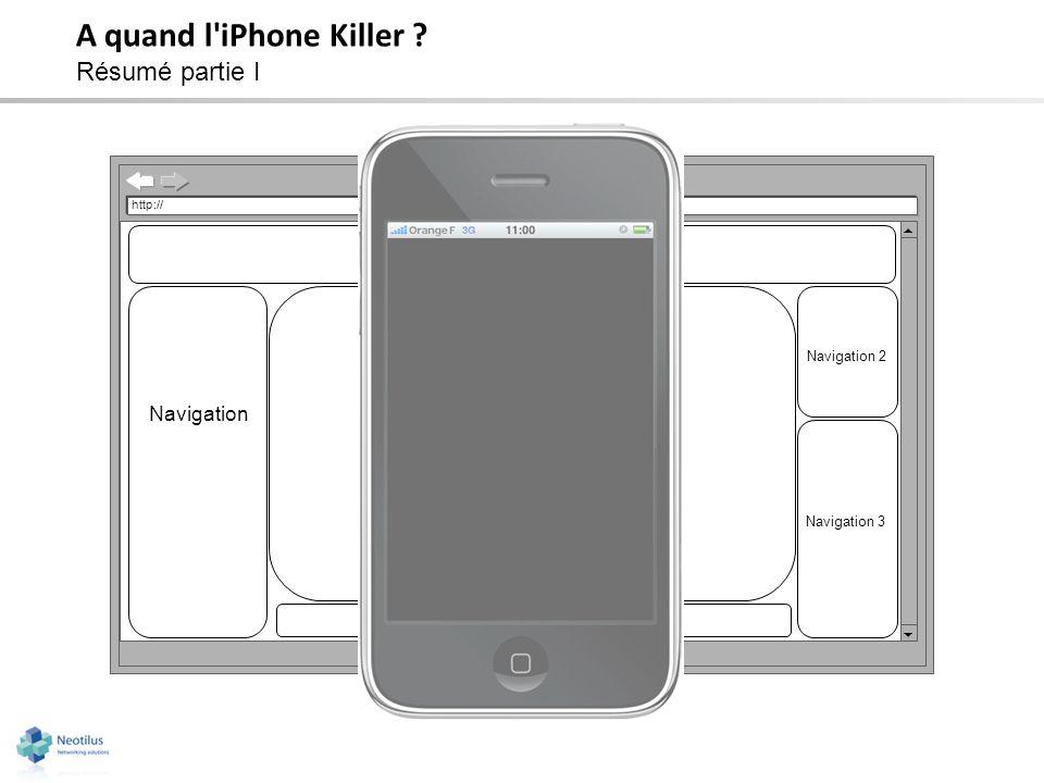 A quand l'iPhone Killer ? Résumé partie I http:// Bandeau Navigation Zone de contenu Navigation 2 Pied de page Navigation 3