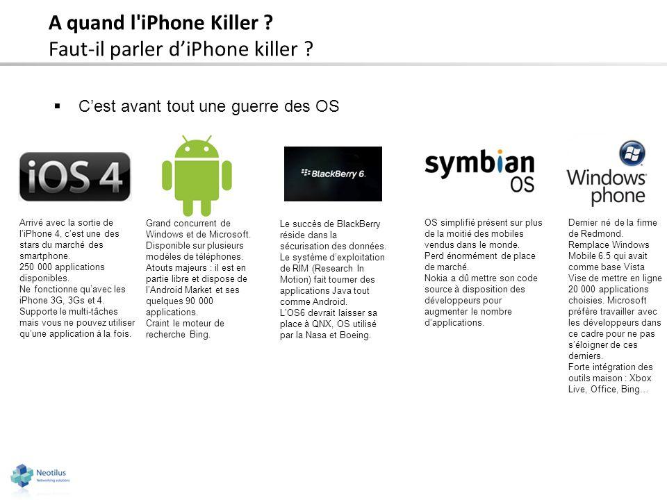 A quand l'iPhone Killer ? Faut-il parler diPhone killer ? Cest avant tout une guerre des OS Arrivé avec la sortie de liPhone 4, cest une des stars du