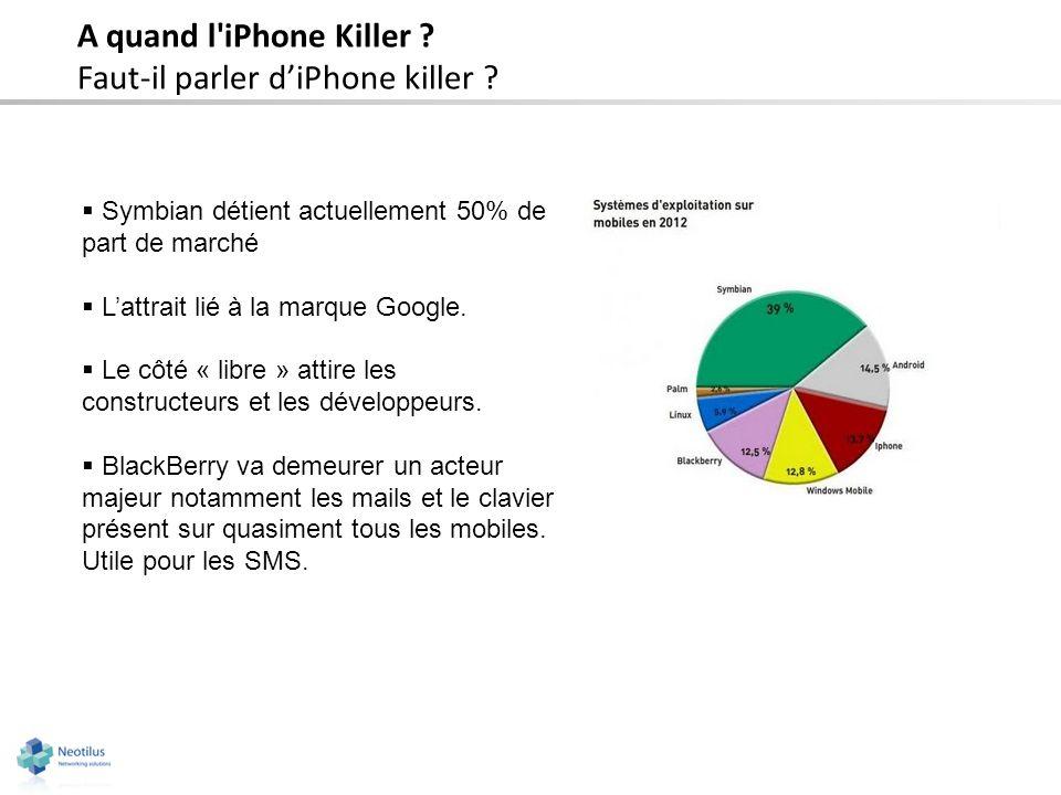 A quand l'iPhone Killer ? Faut-il parler diPhone killer ? Symbian détient actuellement 50% de part de marché Lattrait lié à la marque Google. Le côté
