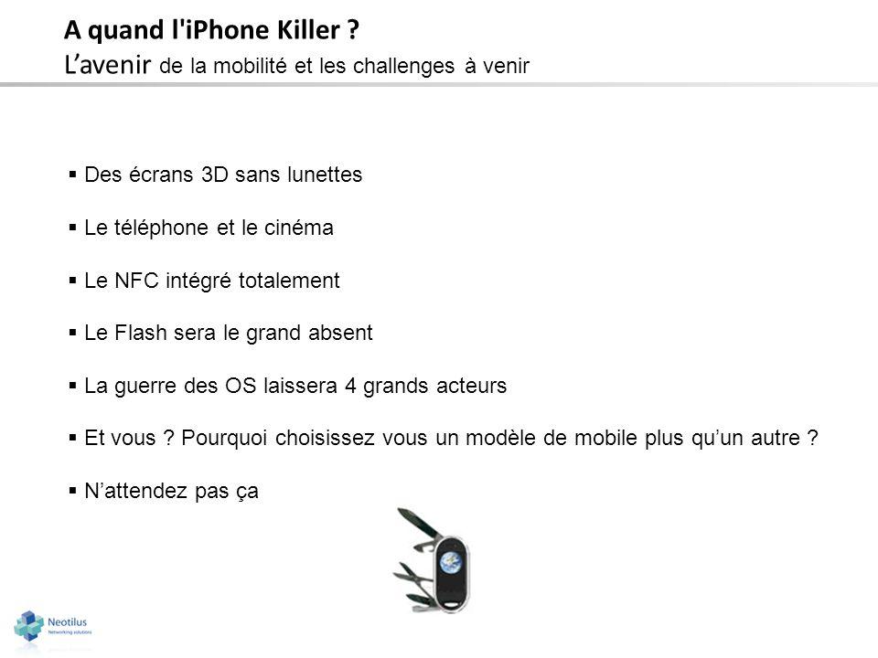 A quand l'iPhone Killer ? Lavenir de la mobilité et les challenges à venir Des écrans 3D sans lunettes Le téléphone et le cinéma Le NFC intégré totale
