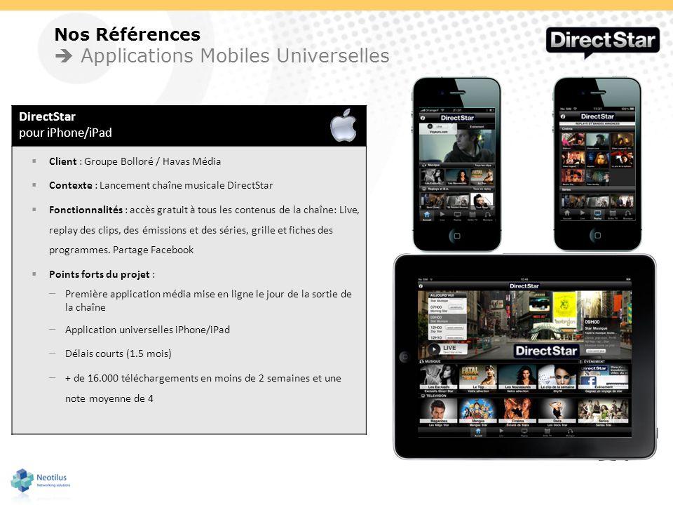 Nos Références Applications Mobiles Universelles DirectStar pour iPhone/iPad Client : Groupe Bolloré / Havas Média Contexte : Lancement chaîne musical