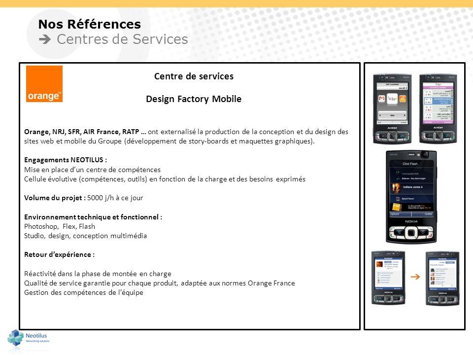 Nos Références Centres de Services Centre de services Design Factory Mobile Orange, NRJ, SFR, AIR France, RATP … ont externalisé la production de la c