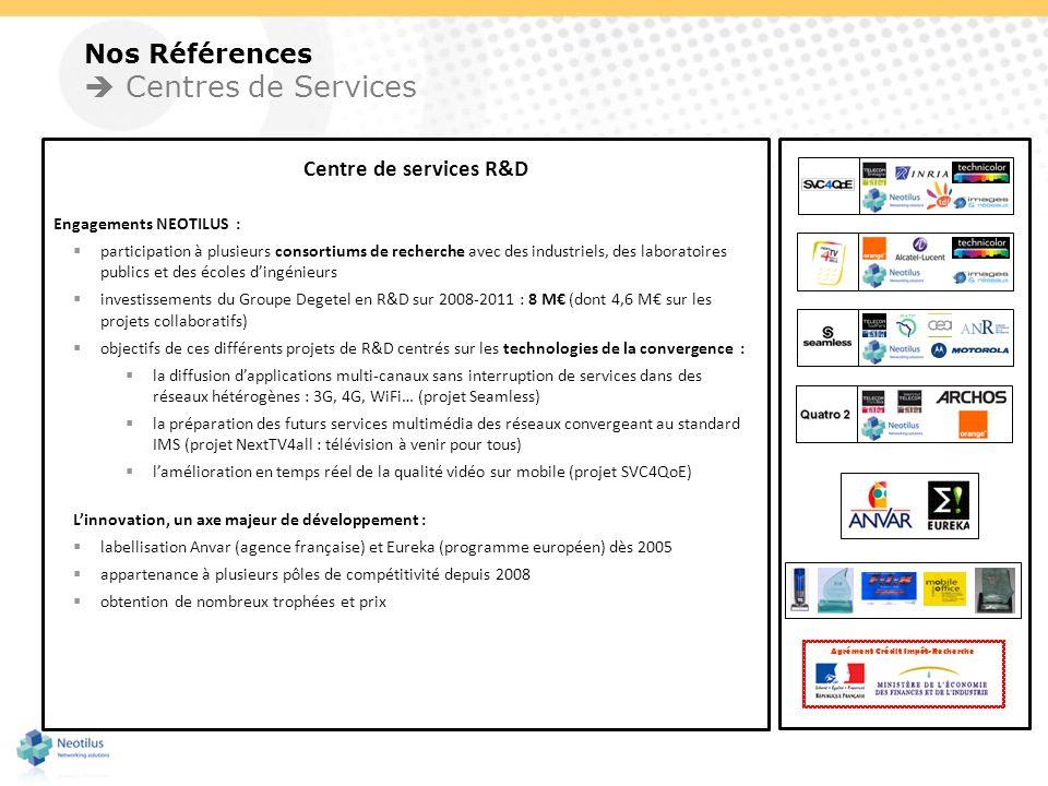 Nos Références Centres de Services Centre de services R&D Engagements NEOTILUS : participation à plusieurs consortiums de recherche avec des industrie