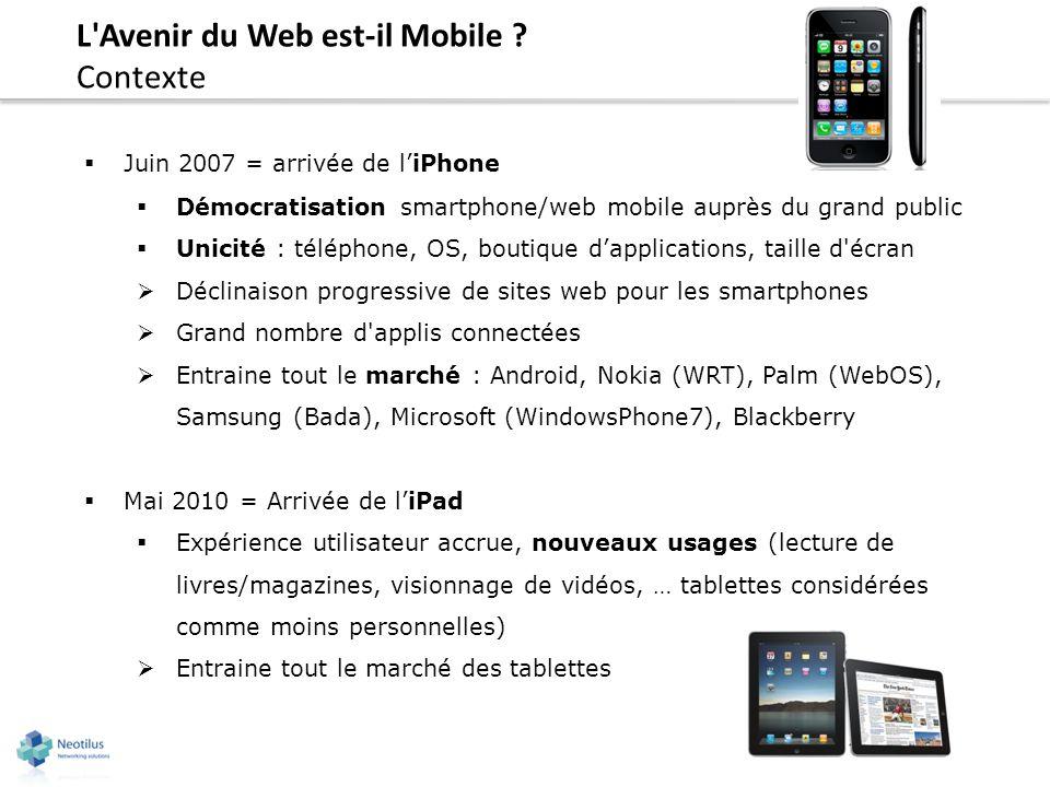 L'Avenir du Web est-il Mobile ? Contexte Juin 2007 = arrivée de liPhone Démocratisation smartphone/web mobile auprès du grand public Unicité : télépho