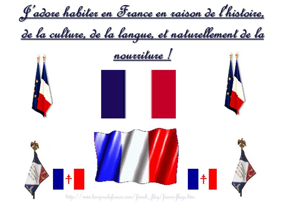 Jadore habiter en France en raison de l'histoire, de la culture, de la langue, et naturellement de la nourriture ! http://www.bonjourlafrance.com/fren