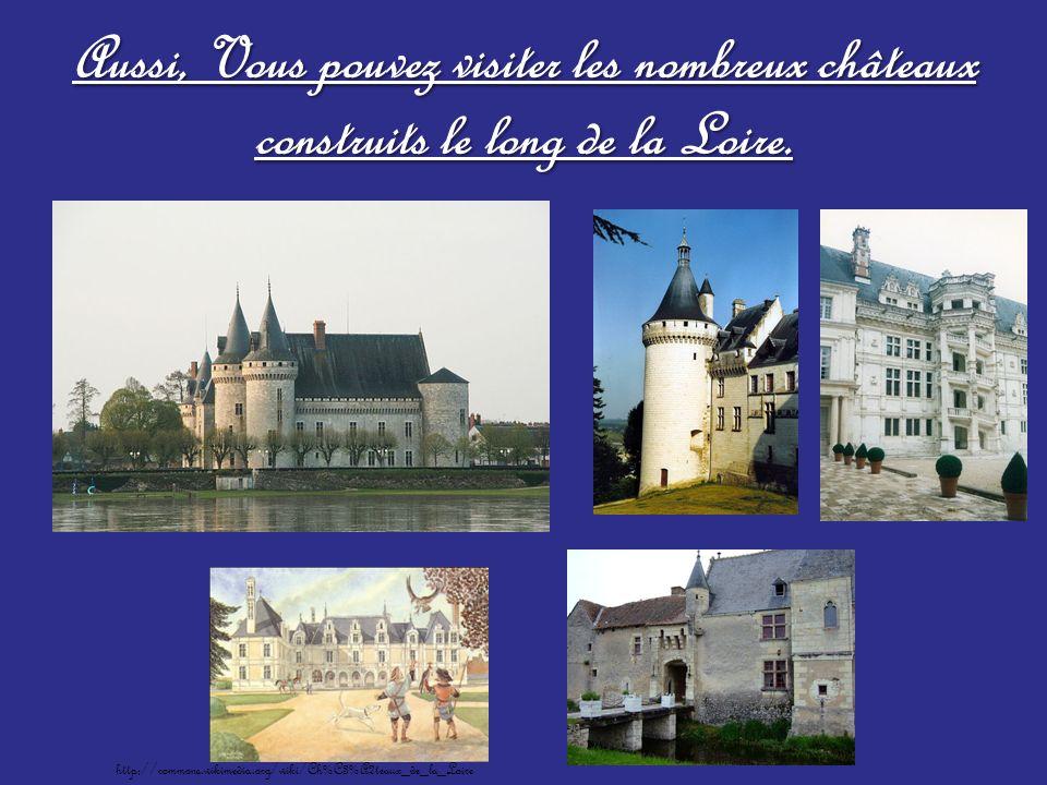 Aussi, Vous pouvez visiter les nombreux châteaux construits le long de la Loire. http://commons.wikimedia.org/wiki/Ch%C3%A2teaux_de_la_Loire