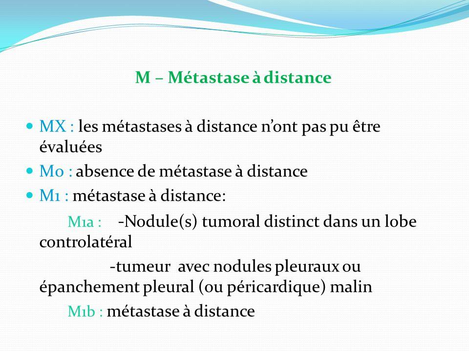 M – Métastase à distance MX : les métastases à distance nont pas pu être évaluées M0 : absence de métastase à distance M1 : métastase à distance: M1a : - Nodule(s) tumoral distinct dans un lobe controlatéral -tumeur avec nodules pleuraux ou épanchement pleural (ou péricardique) malin M1b : métastase à distance