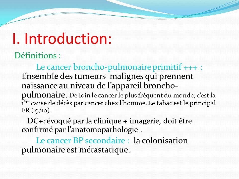 I. Introduction: Définitions : Le cancer broncho-pulmonaire primitif +++ : Ensemble des tumeurs malignes qui prennent naissance au niveau de lappareil