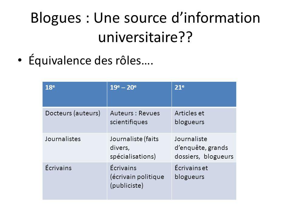 Blogues : Une source dinformation universitaire . Équivalence des rôles….