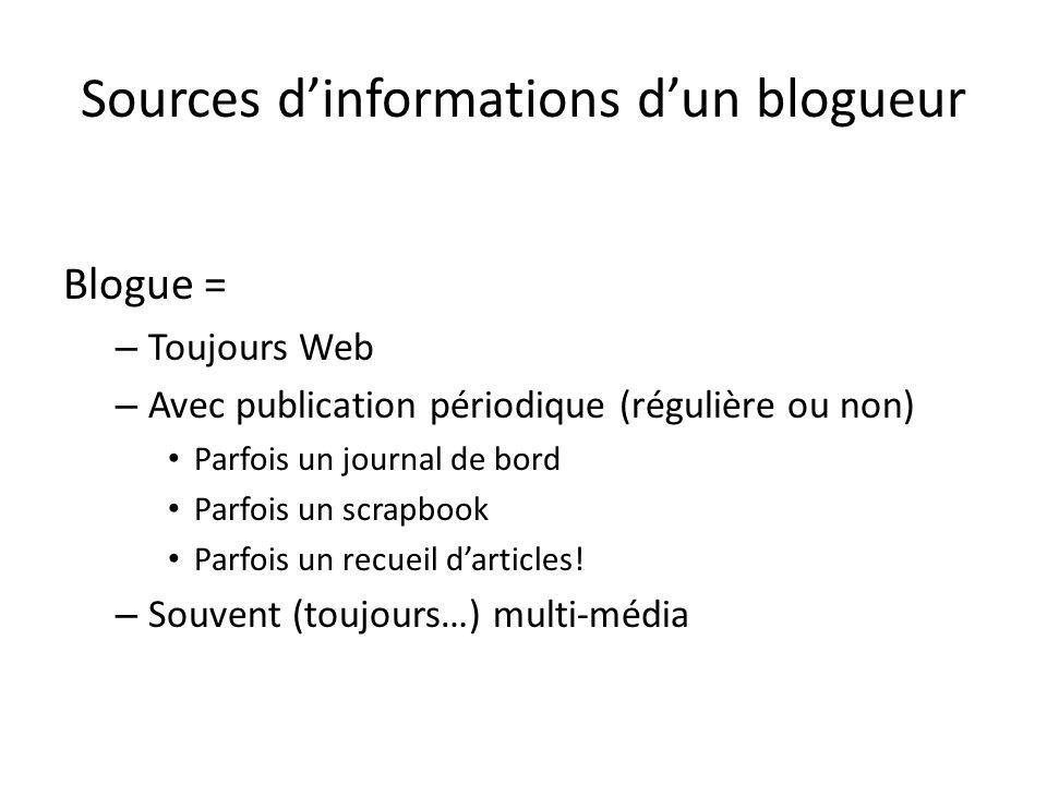 Sources dinformations dun blogueur Blogue = – Toujours Web – Avec publication périodique (régulière ou non) Parfois un journal de bord Parfois un scrapbook Parfois un recueil darticles.