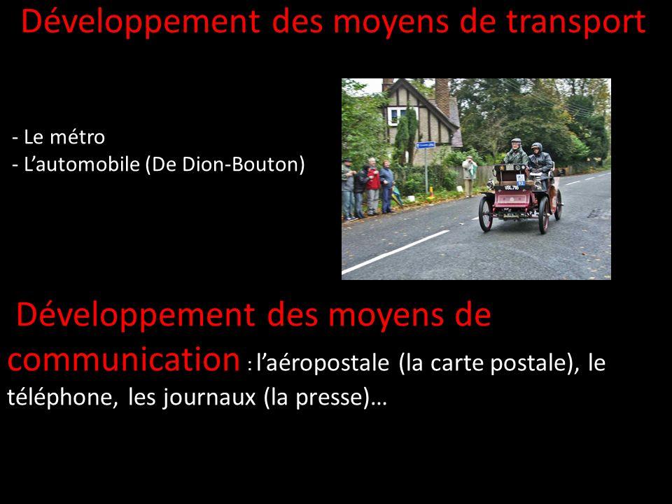 Développement des moyens de transport - Le métro - Lautomobile (De Dion-Bouton) Développement des moyens de communication : laéropostale (la carte pos