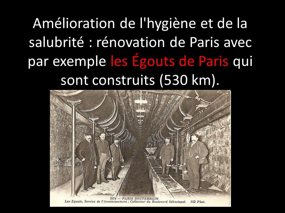 Amélioration de l'hygiène et de la salubrité : rénovation de Paris avec par exemple les Égouts de Paris qui sont construits (530 km).
