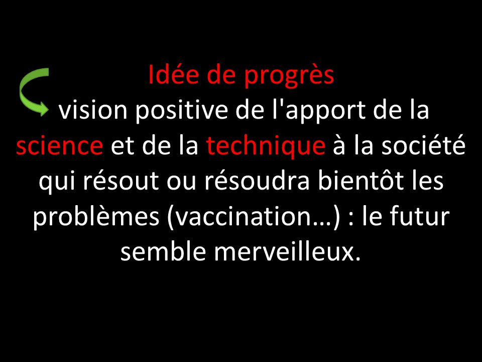Idée de progrès vision positive de l'apport de la science et de la technique à la société qui résout ou résoudra bientôt les problèmes (vaccination…)