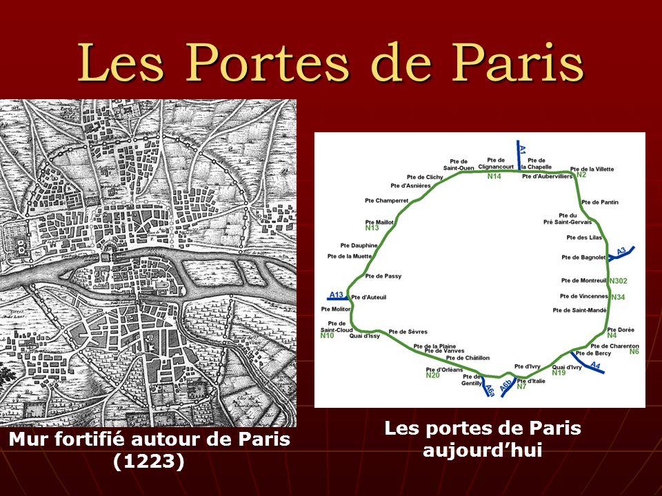 Les Portes de Paris Mur fortifié autour de Paris (1223) Les portes de Paris aujourdhui
