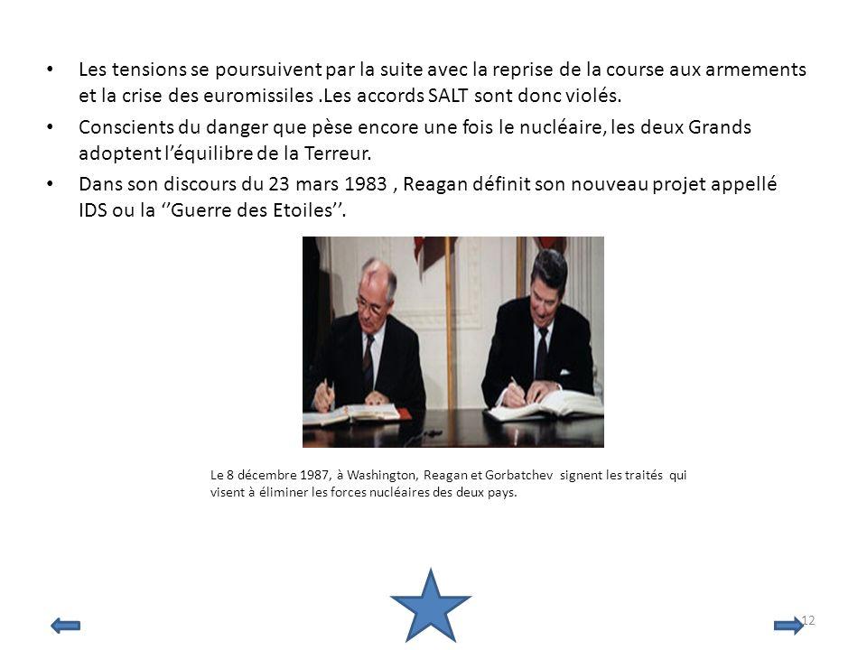 Les tensions se poursuivent par la suite avec la reprise de la course aux armements et la crise des euromissiles.Les accords SALT sont donc violés. Co