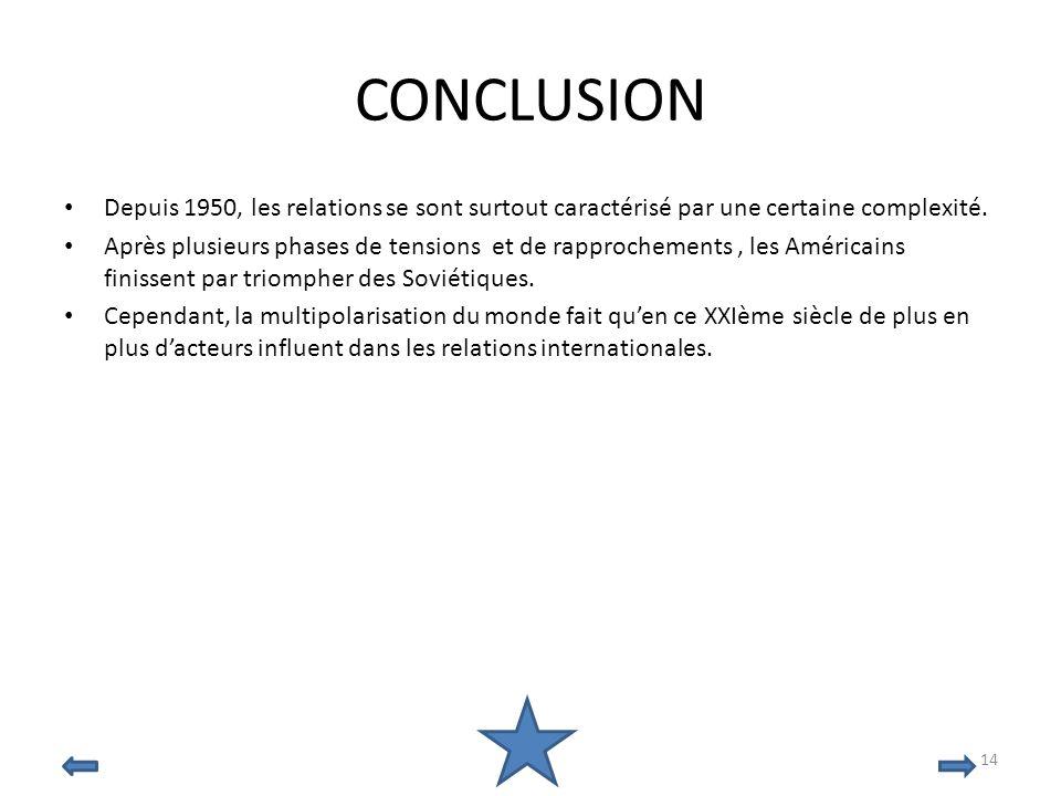 CONCLUSION Depuis 1950, les relations se sont surtout caractérisé par une certaine complexité. Après plusieurs phases de tensions et de rapprochements