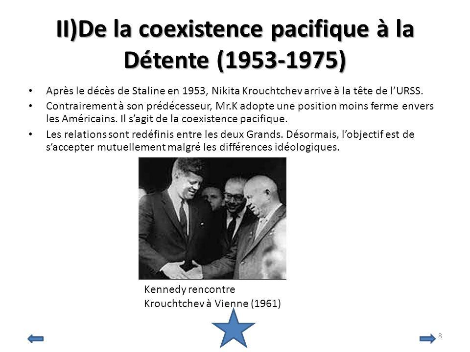 II)De la coexistence pacifique à la Détente (1953-1975) Après le décès de Staline en 1953, Nikita Krouchtchev arrive à la tête de lURSS. Contrairement