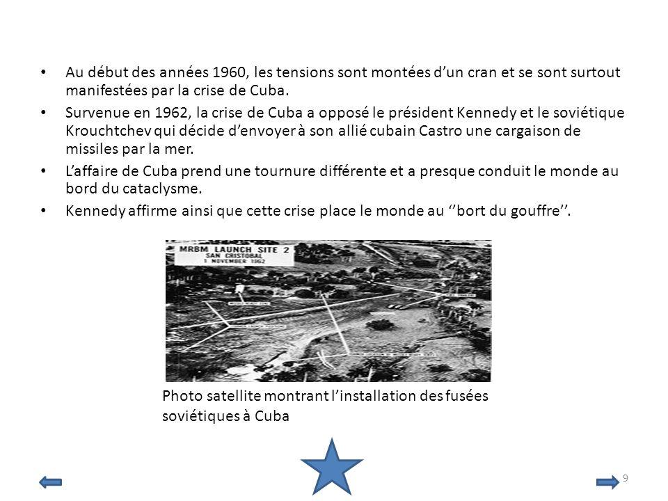 Au début des années 1960, les tensions sont montées dun cran et se sont surtout manifestées par la crise de Cuba. Survenue en 1962, la crise de Cuba a