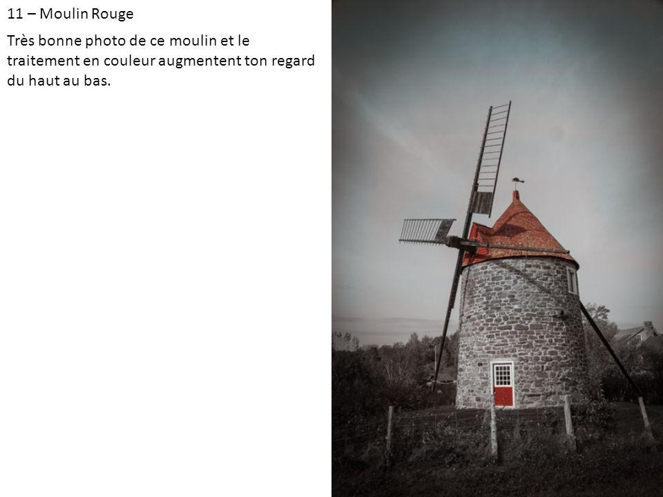 11 – Moulin Rouge Très bonne photo de ce moulin et le traitement en couleur augmentent ton regard du haut au bas.
