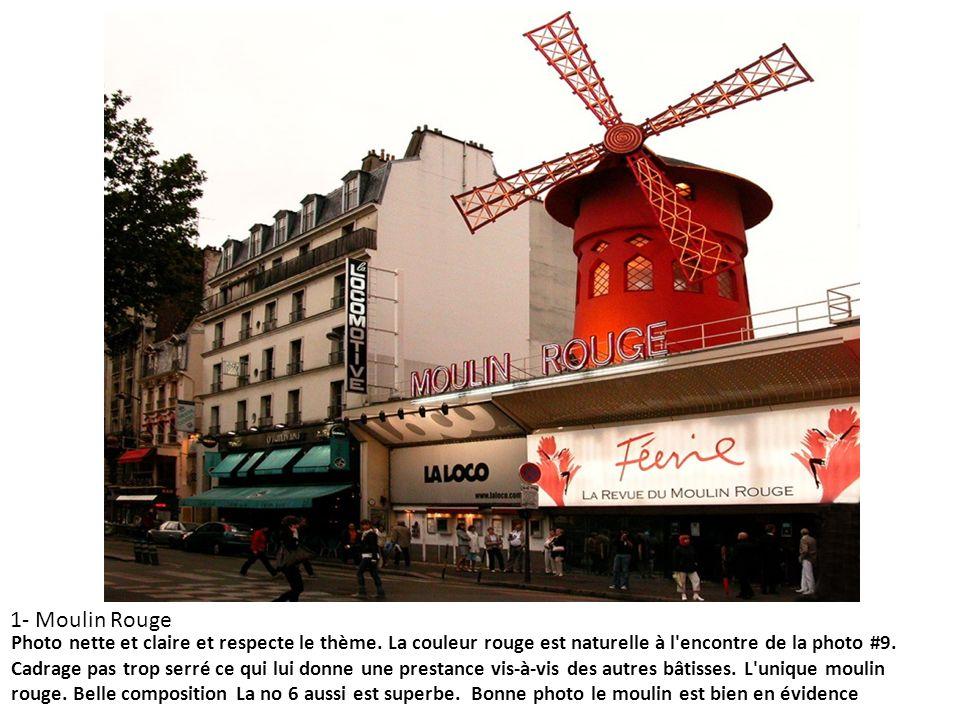 1- Moulin Rouge Photo nette et claire et respecte le thème. La couleur rouge est naturelle à l'encontre de la photo #9. Cadrage pas trop serré ce qui
