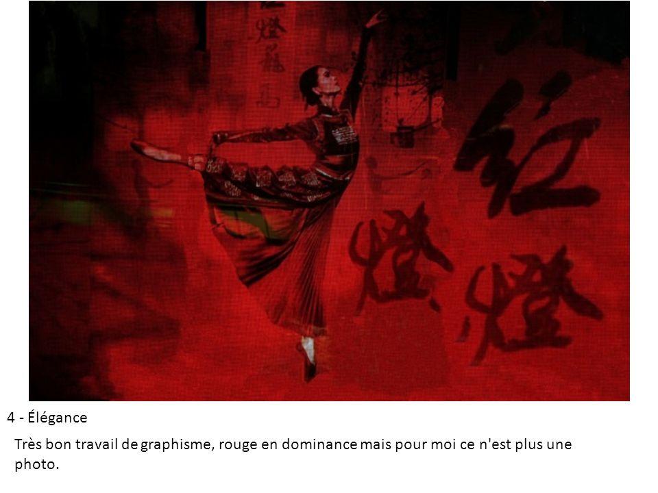 4 - Élégance Très bon travail de graphisme, rouge en dominance mais pour moi ce n est plus une photo.