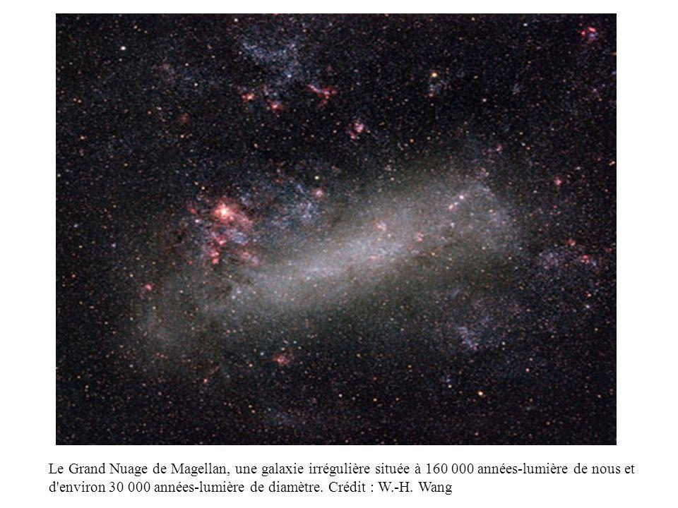 Le Grand Nuage de Magellan, une galaxie irrégulière située à 160 000 années-lumière de nous et d'environ 30 000 années-lumière de diamètre. Crédit : W