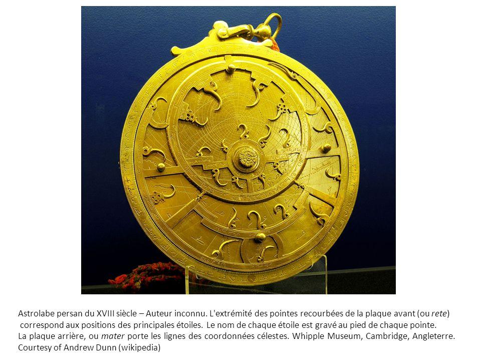 Astrolabe persan du XVIII siècle – Auteur inconnu. L'extrémité des pointes recourbées de la plaque avant (ou rete) correspond aux positions des princi