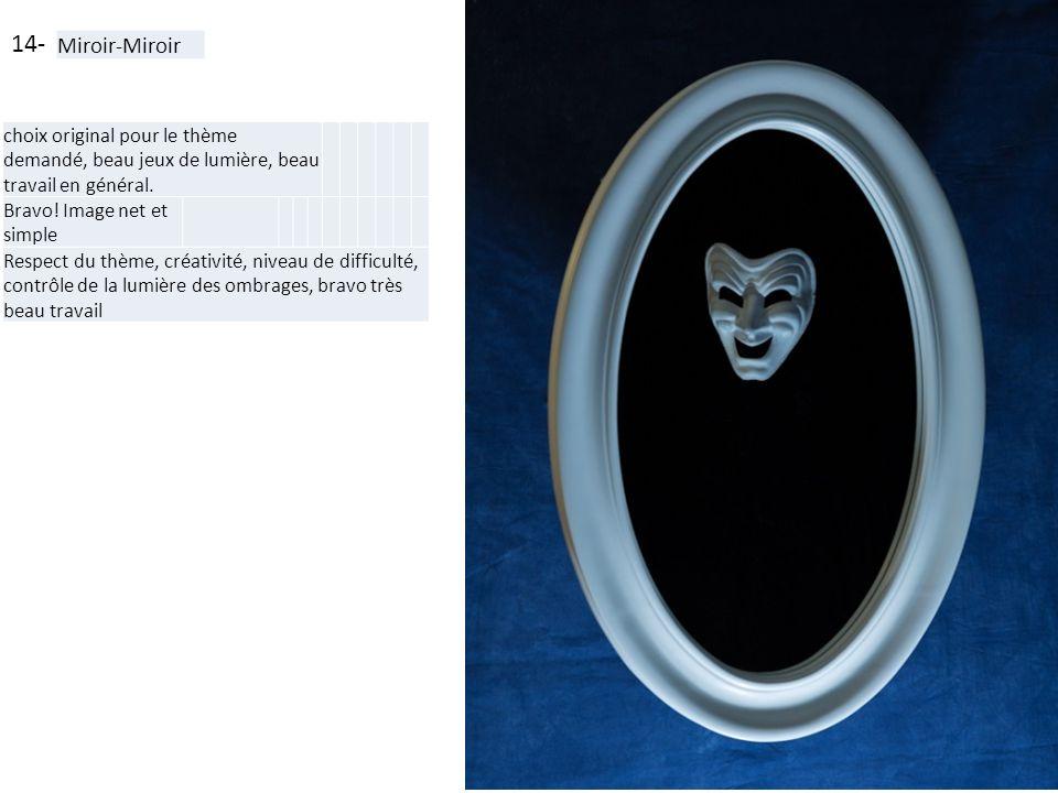 14- Miroir-Miroir choix original pour le thème demandé, beau jeux de lumière, beau travail en général. Bravo! Image net et simple Respect du thème, cr