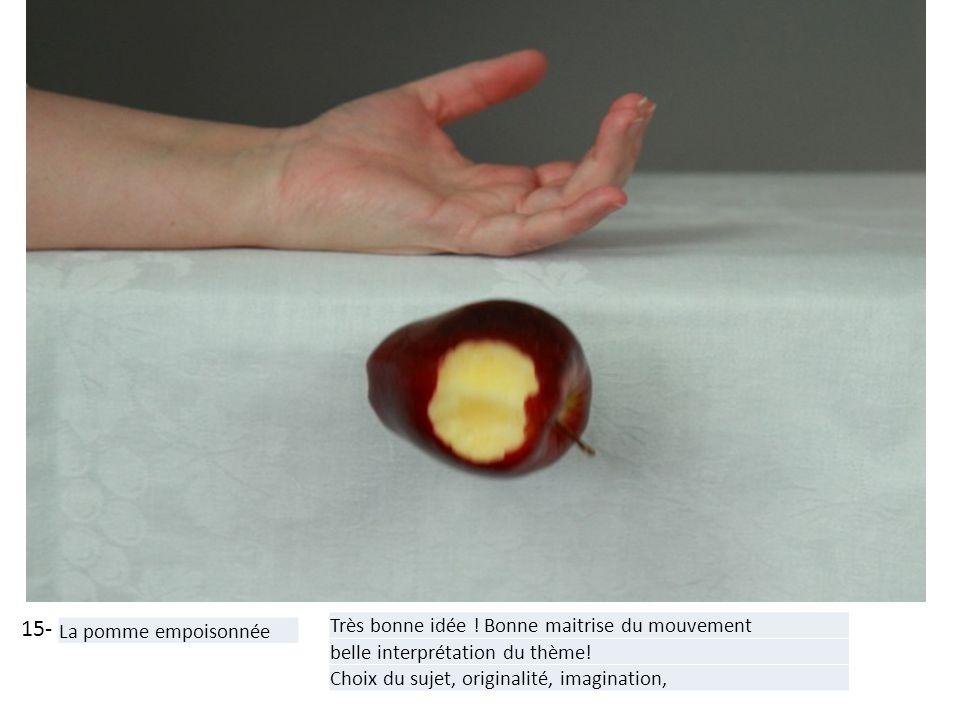 15- La pomme empoisonnée Très bonne idée ! Bonne maitrise du mouvement belle interprétation du thème! Choix du sujet, originalité, imagination,