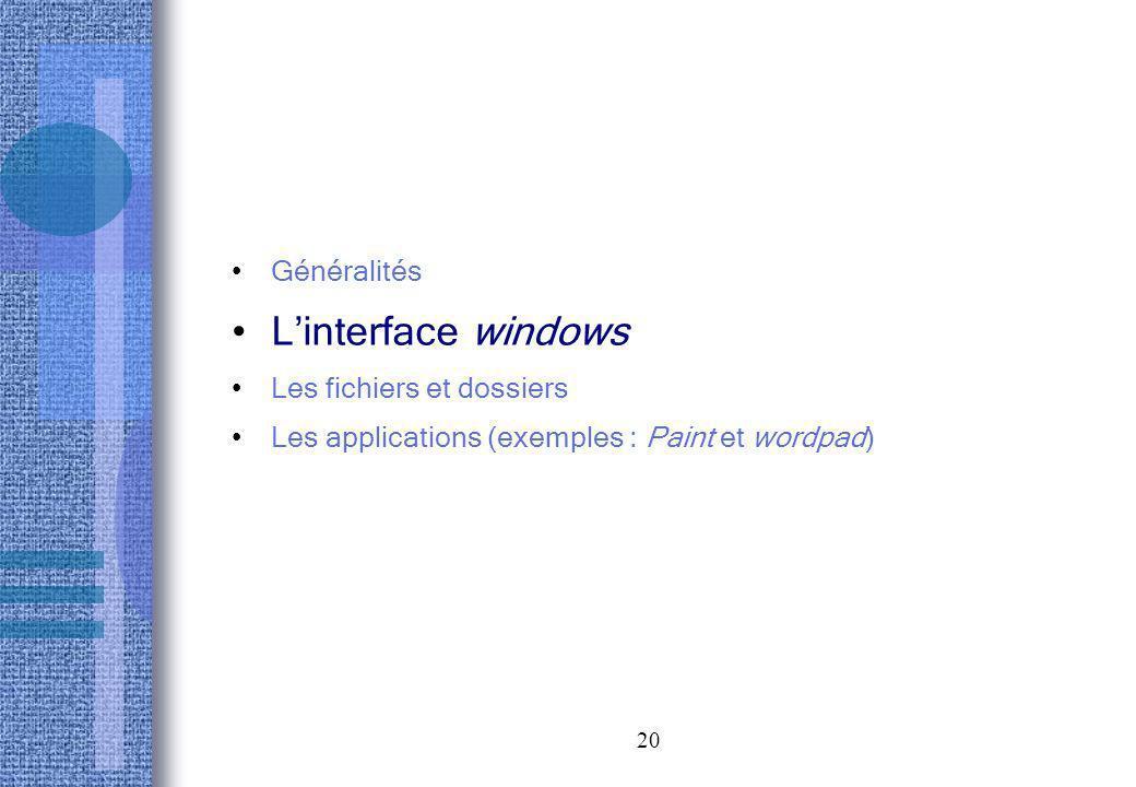20 Généralités Linterface windows Les fichiers et dossiers Les applications (exemples : Paint et wordpad)