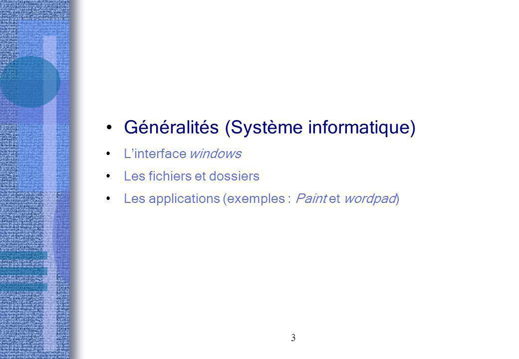 3 Généralités (Système informatique) Linterface windows Les fichiers et dossiers Les applications (exemples : Paint et wordpad)