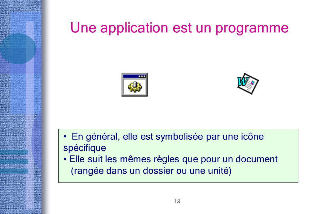 48 Une application est un programme En général, elle est symbolisée par une icône spécifique Elle suit les mêmes règles que pour un document (rangée d
