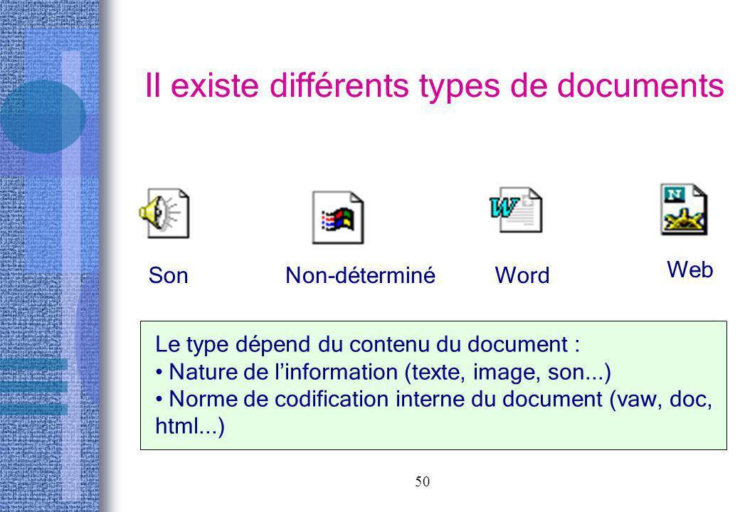 50 Il existe différents types de documents SonNon-déterminéWord Web Le type dépend du contenu du document : Nature de linformation (texte, image, son.