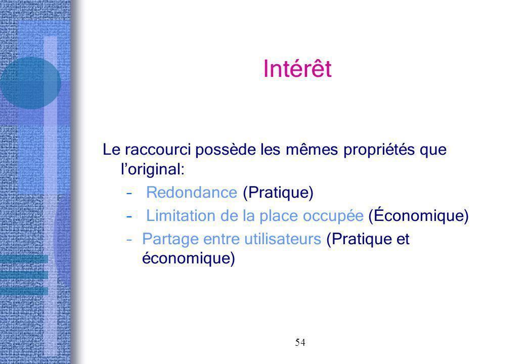 54 Intérêt Le raccourci possède les mêmes propriétés que loriginal: – Redondance (Pratique) – Limitation de la place occupée (Économique) –Partage ent