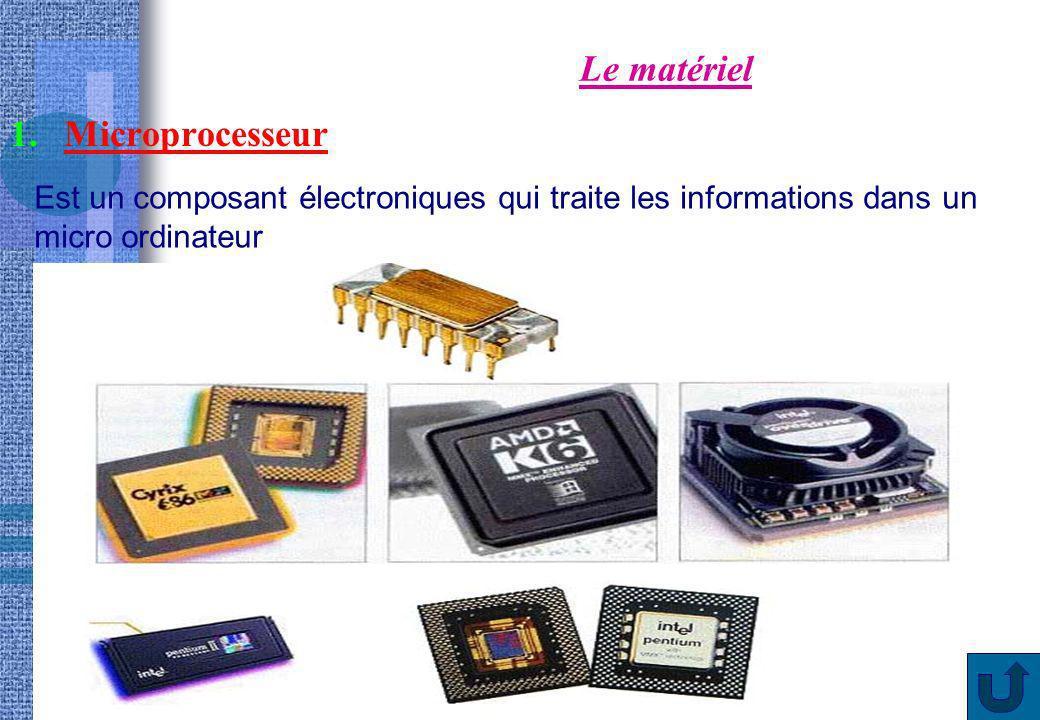 8 Le matériel 2.Mémoire vive ou RAM ou mémoire de travail Est un composant électroniques qui stocke les informations de manière temporaire dans un micro ordinateur.