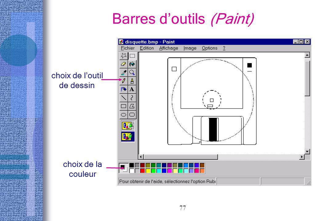 77 Barres doutils (Paint) choix de loutil de dessin choix de la couleur